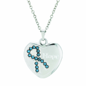 "3/4 Inch Heart/Hope Pendant Aquamarine Swarovski Crystal Ribbon on 18"" Chain"