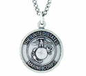 3/4 Inch Small Nickel Silver Marines Medal Christ Strengthens Me On Back On 20 Inch Stainless Steel Chain
