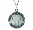 3/4 Inch Small Nickel Silver Navy Medal Christ Strengthens Me On Back On 20 Inch Stainless Steel Chain