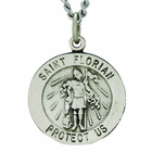 3/4 Inch Round St. Florian Sterling Silver Medal On 20 Inch Stainless Steel Chain