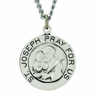 3/4 Inch Round Sterling Silver St. Joseph Medal On 20 Inch Stainless Steel Chain