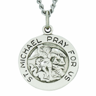 3/4 Inch Round Sterling Silver St. Michael Medal On 20 Inch Stainless Steel Chain