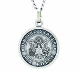 3/4 Inch Small Nickel Silver Air Force Medal Christ Strengthens Me On Back On 20 Inch Stainless Steel Chain