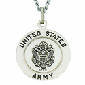 3/4 Inch Sterling Silver Army Medal Saint Michael On Back On 24 Inch Chain