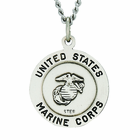3/4 Inch Sterling Silver Marine Corps Medal Saint Michael On Back On 24 Inch Chain