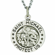 3/4 Inch Sterling Silver Navy Medal Saint Michael On Back On 24 Inch Chain