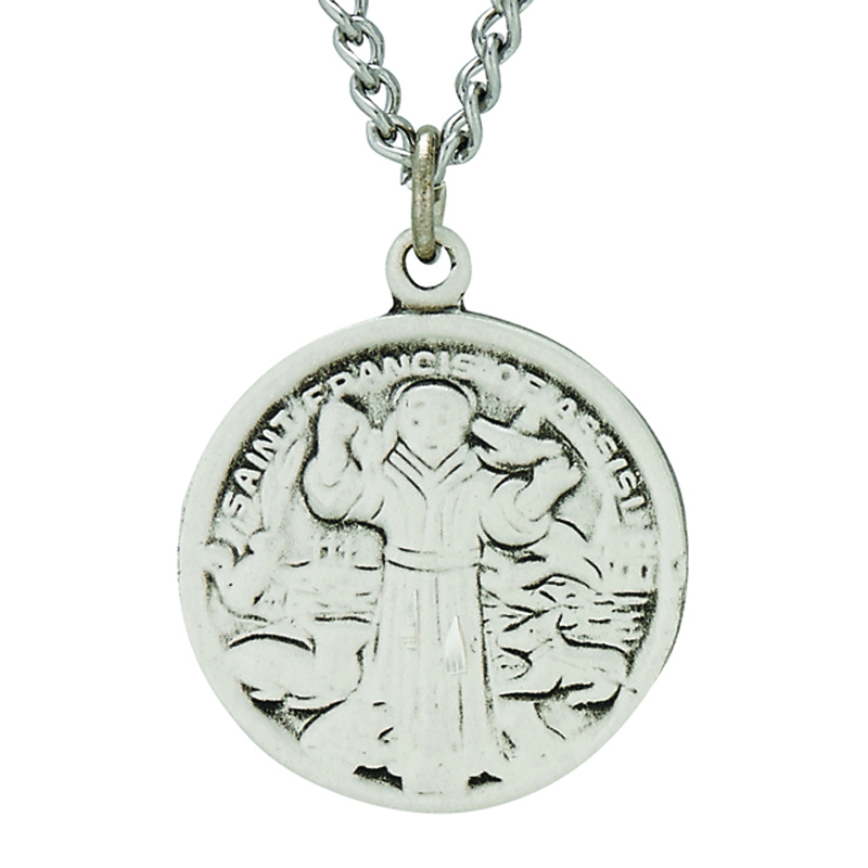059b2c3a003 3/4 Inch Round Sterling Silver St. Francis Medal On 20 Inch Stainless Steel  Chain