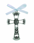 3 Inch Antique Pewter Protect This Child Baby Boy Cross