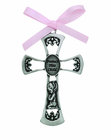 3 Inch Antique Pewter Protect This Child Baby Girl Cross
