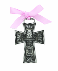 3 Inch Antique Protect This Girl Cradle Cross