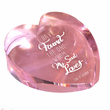 3 Inch Pink Optical Crystal and Heart Shaped Paperweight