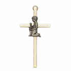 "4"" Brass/White Wall Cross with Fine Pewter Communion Boy Casting"