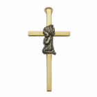 "4"" Brass Cross with Fine Pewter Praying Girl"