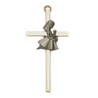 "4"" Brass/White Wall Cross with Fine Pewter Communion Girl Casting"