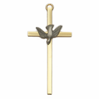 "4"" Gold Plated Brass Wall Cross with Fine Pewter Dove"