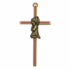"4"" Pink Screened Cross with Antique Gold Praying Girl"