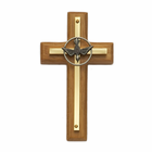 "4"" Wood/Brass Cross With Confirmation Dove"