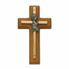 "4"" Wood/Brass Wall Cross with Fine Pewter Praying Boy Casting"