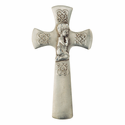 "5 1/2"" Fine Pewter Hand Finished Baptism Wall Cross with Praying Boy"