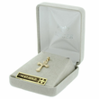 "5/8"" 14K Gold Cross Pendant in a Flared Etched Design"