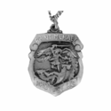5/8 Inch Pewter St.Michael/Police Shield on 20 in. Stainless Steel Chain