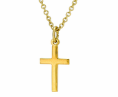 5/8 Inch Small Gold Plated Polished Cross On 18 Inch 14K Gold Chain