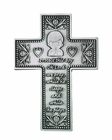 5 Inch Antique Pewter Baby Boy Wall Cross