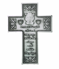 5 Inch Antique Pewter Baby Girl Wall Cross