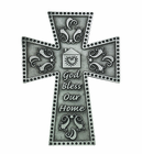 5 Inch Antique Pewter God Bless Our Home Cross