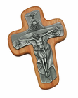 6 Inch Oak And Medal Trinity Wall Crucifix
