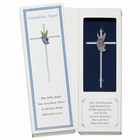 """6"""" Silver Plated Cross With Fine Pewter Guardian Angel"""