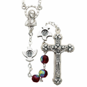 6mm Round Red Crystal Beads with Silver Plated Doves, Crucifix and Madonna Center