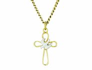 7/8 Inch 2 Tone Open Cross With Dove On 18 Inch 14K Gold Chain