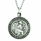 7/8 Inch Large Sterling Silver St. Christopher Medal On 24 Inch Stainless Steel Chain