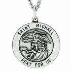 7/8 Inch Round Saint Michael Sterling Silver Medal On 24 Inch Stainless Steel Chain