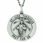 7/8 Inch Round Sterling Silver St. Jude Medal on 24 Inch Stainless Steel Chain