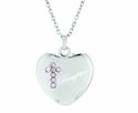 7/8 Inch Sterling Silver Heart / Daughter Pink CZ Crystal Cross On 18 Inch Stainless Steel Chain