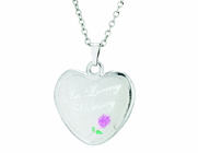 7/8 Inch Sterling Silver Heart / In Loving Memory With Rose Medal On 18 Inch Stainless Steel Chain