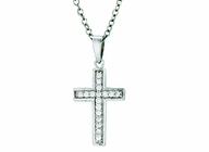 7/8 Inch Sterling Silver Straight Cross Inner CZ Crystal On 18 Inch Stainless Steel Chain