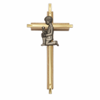 "7"" Brass/Oak Cross with Fine Pewter Communion Boy Casting"