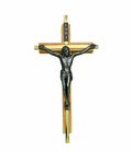 7 Inch Oak / Gold Plated Medal Wall Crucifix