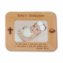 "8 1/2"" x 6 1/2""  'Baby's Dedication' Laser Engraved Maple Wood Photo Frame"