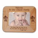 "8 1/2"" x 6 1/2""  'Church Family' Laser Engraved Maple Wood Photo Frame"
