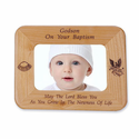 "8 1/2"" x 6 1/2"" Godson Baptism Laser Engraved Maple Wood Photo Frame"