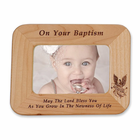"8 1/2"" x 6 1/2""  'On Your Baptism' Laser Engraved Maple Wood Photo Frame"