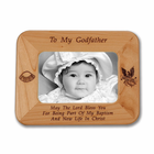 "8 1/2"" x  6 1/2""  'To My Godfather'  Laser Engraved Maple Wood Photo Frame"
