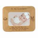 "8 1/2"" x 6 1/2""  Godparents  Laser Engraved Maple Wood Photo Frame"