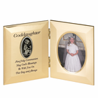"8"" x 5"" Goddaughter's First Communion Hinged Gold Plated Metal Photo Frame with Kneeling Girl"