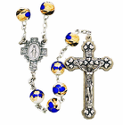 8MM Ceramic Blue Flower Bead Rosary With Silver Crucifix