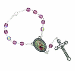 Amethyst Auto Rosary With Silver Plated Crucifix